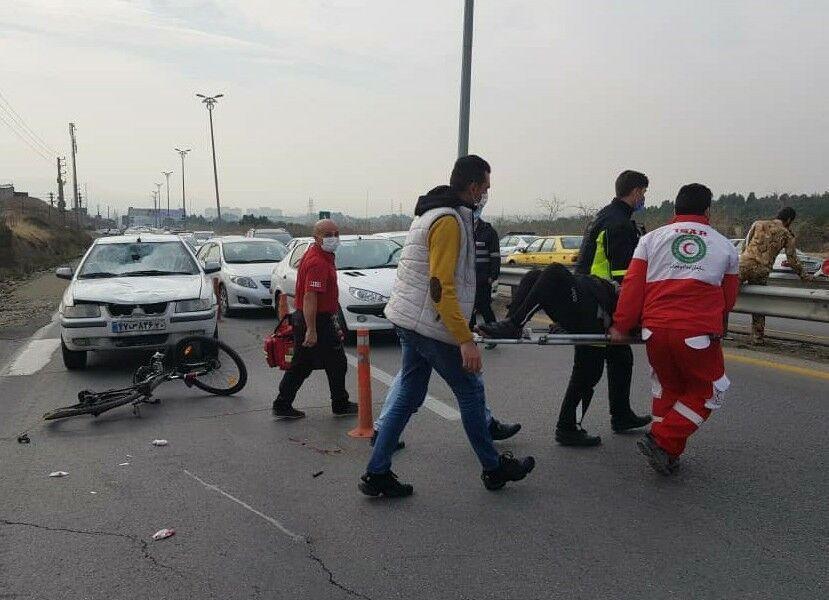خبرنگاران دوچرخه سواری در شمال پایتخت با کمک هلال احمر از مرگ نجات یافت